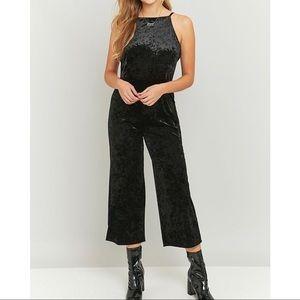 Crushed velvet culottes jumpsuit